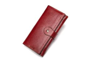Noblag Luxury Leather Women Wallet Wristlet Red