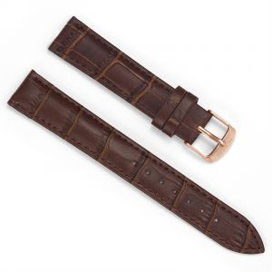 18mm Crocodile Brown Leather Strap