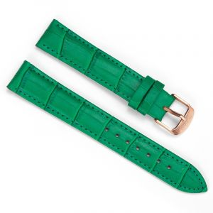 18mm Crocodile Green Leather Strap