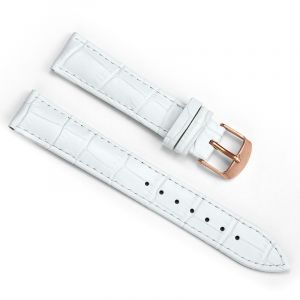 18mm Crocodile White Leather Strap