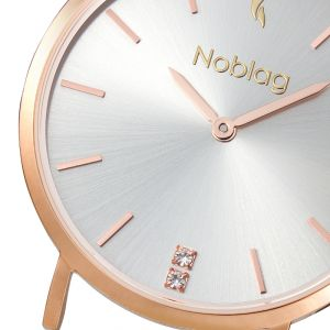 Noblag Luxury Minimalist Gold Watch For Women Brown Leather Strap Champagne 36mm