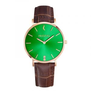 Noblag Flame Luxury Minimalist Women's Watches Brown Leather Strap Green Dial 36mm