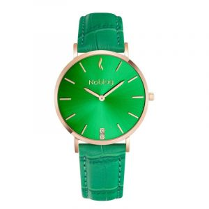 Noblag Luxury Minimalist Watch For Women Green Leather Strap Green Dial 36mm