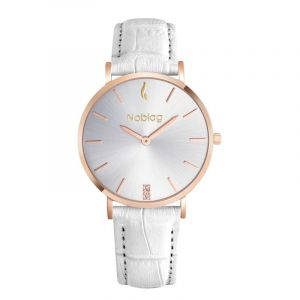 Noblag Luxury Minimalist White Watch For Women Leather Strap Champagne 36mm