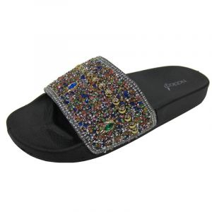 Noblag Luxury Glitter Sandals For Women's Slide Slip On Platform