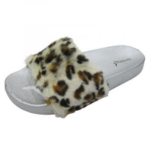 Noblag Luxury Slide Sandals Women Faux-Fur Leopard