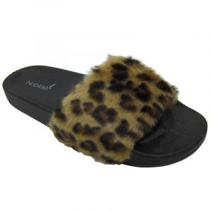 Noblag Luxury Slide Sandals For Women Faux-Fur Slip Leopard