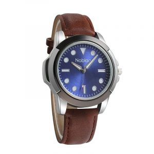 Noblag Luxury Sports Men's Watches  Blue Dial Brown Leather strap 50mm