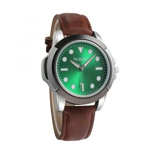 Noblag Luxury Sports Watches For Men Green Dial Brown Leather strap 50mm