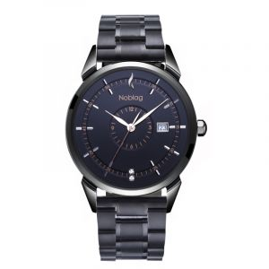 The N-Classic De Noblag Luxury Men's Watch 38mm Black Dial Black Stainless Steel Band