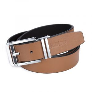 Noblag Luxury Men's Dress Belts Clamp Closure Calfskin Leather Stainless Steel Buckle Tan