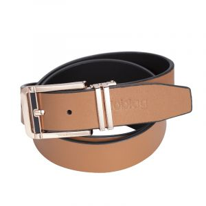 Noblag Luxury Men's Dress Belts Clamp Closure Calfskin Leather Stainless Steel Buckle Gold-Tone Tan