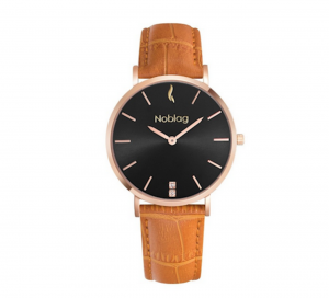 Noblag Luxury Minimalist Watach For  Women Tan Leather Strap Black Dial 36mm