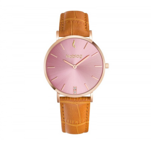 Noblag Flame Luxury Minimalist Women's Watches Tan Leather Strap Pink Dial 36mm