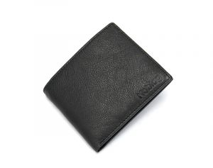 Noblag Luxury Leather Slim Single Billfold Men's Wallet Black