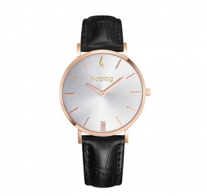 Noblag Luxury Minimalist Classic Watch For Women Black Leather Strap Champagne 36mm
