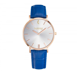 Noblag Flame Luxury Minimalist Women's Watches Blue Leather Strap Champagne 36mm