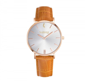 Noblag Luxury Minimalist Women Watches Online Tan Leather Strap Champagne 36mm