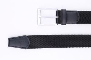 Noblag Luxury Men's Braided Woven Black Leather Belt Casual Dress Silver Buckle