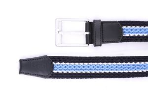 Noblag Luxury Men's Elastic Braided Belt, Stretch Woven Belt Silver Buckle
