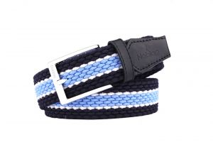Noblag Luxury Woven Braided Elastic Blue White Leather Belts For Men
