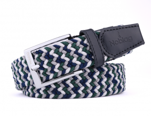 Noblag Luxury Woven Braided Elastic Green Blue Leather Belts For Men