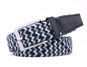 Noblag Luxury Elastic Braided Belt, Men's Stretch Belt Silver Buckle