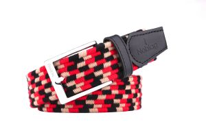 Noblag Luxury Men's Braided Elastic Woven Belt Black Leather Straps Silver Buckle