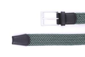 Noblag Luxury Men's Woven Leather Belts Braided Elastic Green White