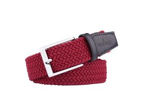 Noblag Luxury Woven Braided Belt For Men Elastic Red