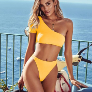 Noblag Luxury One Shoulder Bikini Set Top And Bralette Bottoms Yellow