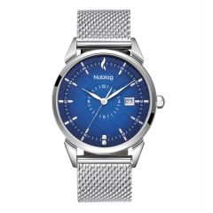 The N-Classic De Noblag Luxury Men Stainless Steel Mesh Bracelet Blue Dial Watches For  38mm