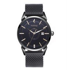 The N-Classic De Noblag Luxury Men's Mesh Watches Black Stainless Steel  Bracelet 38mm