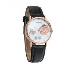 Noblag Mademoiselle Luxury Women's Watches Luminous White Dial Black Strap 38mm