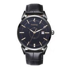 The N-Classic De Noblag Luxury Black Men's Watches Stainless Steel Case Ronda 38mm