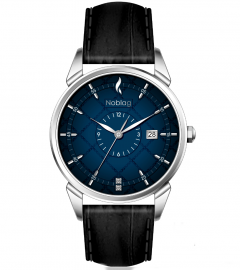 Noblag Art-Of-Piece Collection Luxury Gradient Blue Dial Watch For Men Stainless Steel Leather Strap