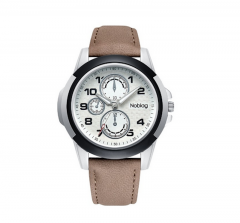 Noblag Luxury Sports Watches For Men And Women Brown Strap Luminous Dial 46mm